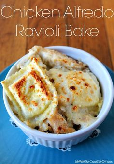 This one comes together in minutes!  Chicken Alfredo Ravioli Bake is always a huge hit at my house!