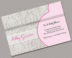 Pregnant Belly Girl Baby Shower Invite by alittletreasure on Etsy, $15.00