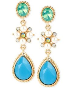 M. Haskell Gold-Tone Mixed Stone Triple Drop Earrings