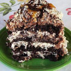 I love Samoa Girl Scout Cookies and this cake is made to mimic that famous cookie-from Just a Pinch Recipes