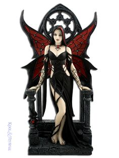 Fairy Statues For Sale | Anne Stokes Statue: Aracnafaria Gothic Fairy Figurine with Black ...