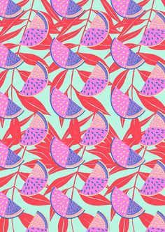 Colourful fruit-inspired tex­tile designs from Hannah Rampley.