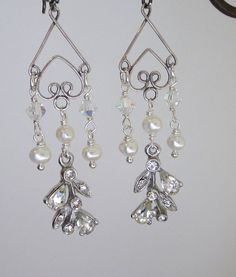 Sterling Silver, Pearls and Vintage Rhinestones Assemblage Chandelier Earrings - one of a kind by JryenDesigns.etsy.com