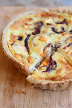 eggless quiche with potato, caramelized onions & feta