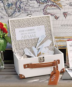 Mini Suitcase Wishing Well Guest Book Alternative. So Fun. #Weddings Daisy-Days.com