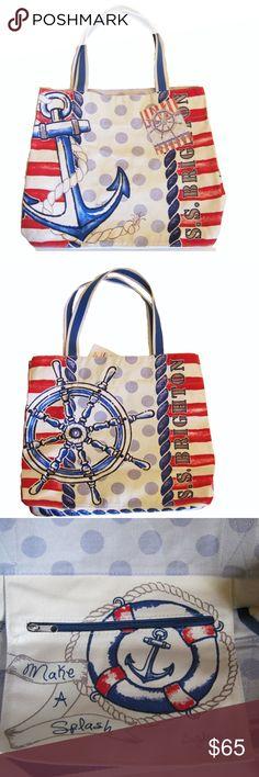 "Life/'s a Beach Printed Canvas Tote Bag Large Handbag 13/"" L 3 Inside Pockets"
