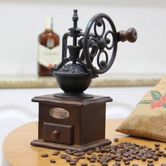 Vintage Manual Coffee Grinder Wheel Design Coffee Bean Mill Grinding Machine Tr