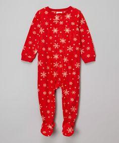 Loving this Red Snowflake Pattern Fleece Footie - Infant on #zulily! #zulilyfinds