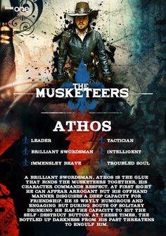 A brave leader and skilled fighter, troubled Athos hides from his inner darkness, but it's not long before it finds him.Athos is played by Tom Burke, who starred opposite Benedict Cumberbatch in film Third Star. #TheMusketeers - brand new Original British Drama - starts Sunday 19th January on BBC One.