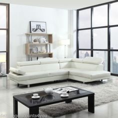 639.00 2-Piece-Contemporary-Modern-Faux-Leather-White-Sectional-Sofa