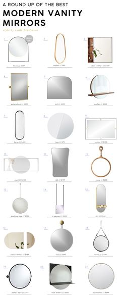 If you are tired of the same ole vanity mirrors and want some fresh ideas then you have come to the right place. Here are our favorites.  #bathroomideas #bathroom #interiordesignideas #modern