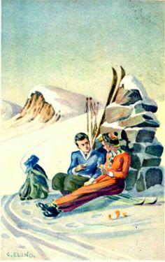 Gondro Elind par på ski brukt 1933 Utg Mittet