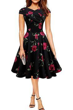 Black Butterfly 'Enya' Vestido Vintage Pin-Up Infinity (Grandes Rosas Azules, ES 36 - XS)