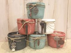 100% handcrafted soy wax, mason jar candles. I used Annie Sloan chalk paint, distressed & embellished these with keys & other  little treasures. I'm going to see how these sell at my craft show. Davina 2013