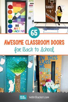 65 Awesome Classroom Doors for Back to School. What better way to welcome your students than these ideas for bright classroom doors. (They make great bulletin boards, too! Kindergarten Door, Preschool Door, Kindergarten Special Education, Ela Classroom, High School Classroom, English Classroom, Classroom Ideas, Classroom Design, Classroom Displays