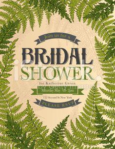 Vintage Style Botanical Fern Bridal Shower Invitation royalty-free stock vector art