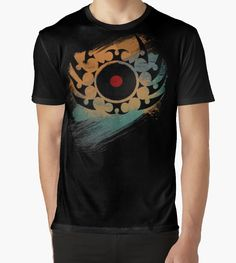 Retro Vinyl Records Music - Vinyl With Paint and Tribal Spikes - DJ graphic T-Shirt