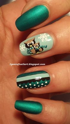 Cute owls (winter themed) by daysofnailartnl - Nail Art Gallery nailartgallery.nailsmag.com by Nails Magazine www.nailsmag.com #nailart