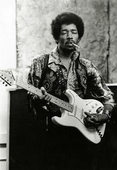 Jimi Hendrix photographed by Roberto Robanne, 1969.