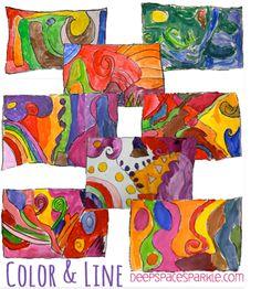 Lesson about Line http://www.deepspacesparkle.com/2013/05/28/easy-color-line-art-lesson/