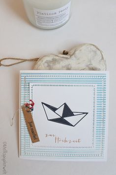 Origami Boot, Nautical Cards, Just Married, Peonies, Stampin Up, Diy And Crafts, Place Card Holders, Creative, Boats