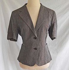 361aa180b7136 Max Mara Jacket Blazer Deadstock Gray Linen Blend Short Sleeve Nipped Waist  12