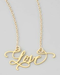 Hand calligraphied Love necklace