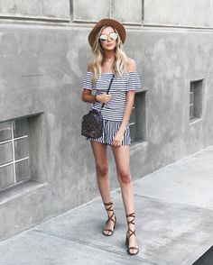 fec188d72e summer stripe set   vacation outfit   off the shoulder top and shorts Carly  Cristman