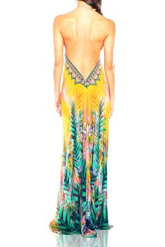 Shop Embellished Designer Dresses Luxury Dresses BY SP - Shahida Parides Bare Back Dress, Backless Maxi Dresses, Tropical Dress, Luxury Dress, Kaftans, V Neck Dress, Boho Outfits, Designer Dresses, Cruise