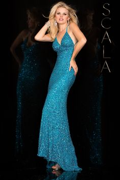 #SCALA Spring 2016 style 47551 Turquiose! #scalausa #spring2016 #prom2016 #gown #promdress #eveningwear #dress #sequins #specialoccasion #prom2k16 www.scalausa.com