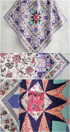 Wishire Park Quilt Kit by Craftsy.   A modern quilt kit that includes fabrics and quilt pattern to make your own modern medallion quilt.   A fresh floral take on old Hollywood glam for a fun-meets-sophisticated top.   Uses Boundless fabrics Melrose and Vine. Affiliate link.