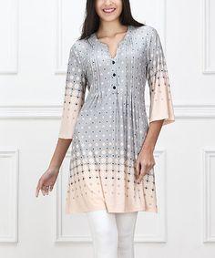 Gray & Pink Ascending Circle Notch Neck Dress