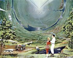 """""""A colony of to a million people could live safely and happily on the 600 square miles of inside surface of the 'Inside-Out World.'"""" Retro-future illustration by Roy G. Arte Sci Fi, Trippy, Life In Space, Space City, Sci Fi Kunst, Science Fiction Kunst, Hollow Earth, 70s Sci Fi Art, Drawn Art"""
