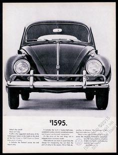 1961 VW Volkswagen Beetle classic car photo $1595 13x10 vintage print ad
