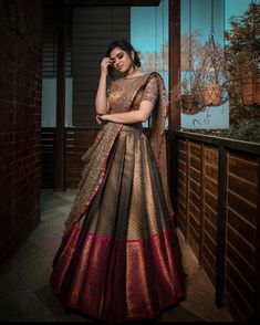 23 Elegant Saree Lehenga Designs For The South Indian Brides! 23 Elegant Saree Lehenga Designs For The South Indian Brides! Indian Lehenga, Half Saree Lehenga, Lehnga Dress, Saree Look, Banarasi Lehenga, Lehenga Blouse, Indian Bridal Outfits, Indian Bridal Fashion, Indian Designer Outfits