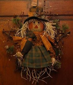 PRIMITIVE STAR TWIG PIP BERRIES SCARECROW WREATH FALL GREETER FOLK ART Primitive Scarecrows, Fall Scarecrows, Primitive Fall, Primitive Crafts, Scarecrow Doll, Scarecrow Crafts, Scarecrow Wreath, Pumpkin Crafts, Fall Crafts