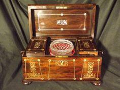 Stunning 19c Inlaid Rosewood Tea Caddy   eBay