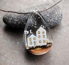 Christmas village Necklace Resin Wood Necklace Drop Pendant