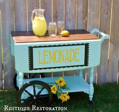 Lemonade anyone? I just finished restoring this old antique tea cart to a new and freshened up Lemonade Stand! And I LOVE the way it turn. Diy Bar Cart, Gold Bar Cart, Bar Furniture, Painted Furniture, Antique Tea Cart, Wine Cart, Sweet Carts, Tea Trolley, Outside Bars