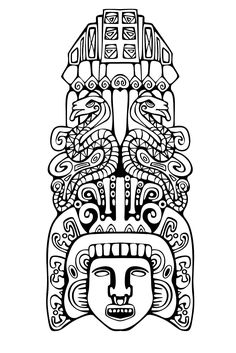 Adult Coloring Pages: Mayan Mask 2