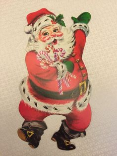 "Vintage EUREKA CHRISTMAS SANTA DIE CUT CARDBOARD CUTOUT RARE 15"""