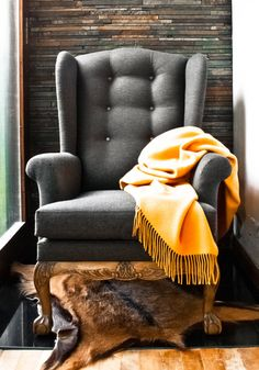 Fancy - Wingback Chair from Terra Mariana Interior Design.d love this in a minimalist interior. Poltrona Bergere, Decoration Gris, Sofa Chair, Wingback Chairs, Armchairs, Wing Chairs, Navy Armchair, Cave Chair, Chair Redo