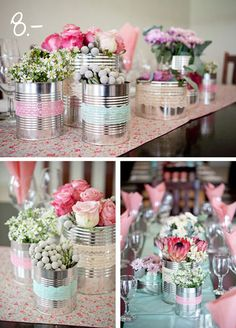 Garden party centerpieces decoration 54 ideas for 2019 Tin Can Crafts, Diy And Crafts, Wedding Decorations, Christmas Decorations, Table Decorations, Party Centerpieces, Deco Champetre, Ideas Para Fiestas, Diy Wedding