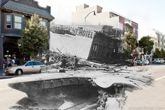 Composite Photographs Blend Scenes from the 1906 San Francisco Earthquake and Present Day—life sized photographs #photooftheday