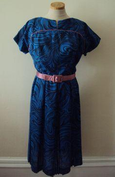 Vintage 50s Royal Blue Swirls Dress by nanapatproject on Etsy, $110.00
