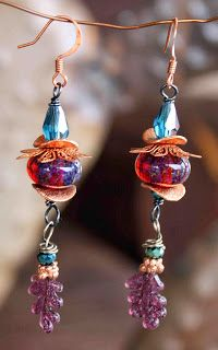 Lampwork with copper earrings with leaf headpins by Dry Gulch.