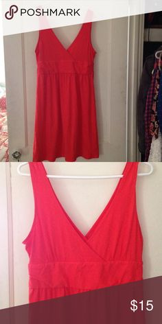 Old navy dress Red/orange loose fit dress, v-neck, negotiable price, in great condition Old Navy Dresses Midi