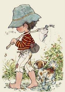 The Garden of Dreams: Tender Images of Sarah Kay Sarah Key, Holly Hobbie, Vintage Postcards, Vintage Images, Gone Fishing, Australian Artists, Illustrations, Anime Comics, Cute Illustration