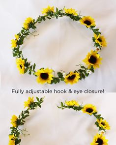 For Brynn!! Sunflower and Daisy Floral Crown   Afloral Wedding Flowers   Flower Girl Crowns