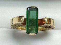 Custom Designed 18K Yellow Gold Green Tourmaline Ring Size 6 1/2